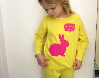 Personalised Girls Pyjamas Rabbit Print