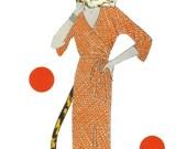 Anthropomorphic Cat Lady Original Collage on Paper Tiger Art Safari Decor Jungle Wall Art Bright Color Artwork Colorful Animal Art