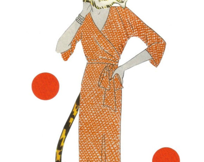 Tiger Art Collage, Jungle Cat Lady, Safari Animal Artwork