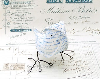 2yr Wedding Anniversary Gift Cotton Blue Bird French Script  Home Decor Little Bird- Made To Order