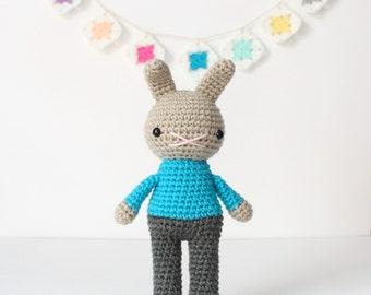 reynold .. amigurumi rabbit toy, easter bunny rabbit, boys plush plushie stuffed animal