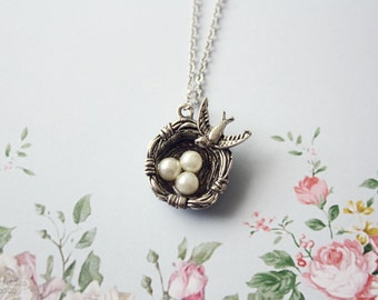 Nest necklace - vintage inspired jewelry, romantic, shabby chic, silver necklace