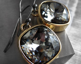 Black Night Crystal Earrings with Gold Bezels - Black Gold Sexy Modern Swarovski Crystal Earrings, NYE New Years Eve Party Jewelry - 4470