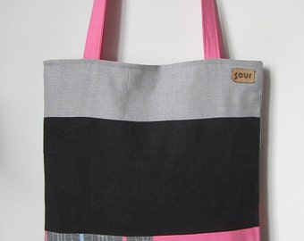 ON SALE Away We Go Bubblegum Pink, Light Gray and Stripes Color Block Tote Bag