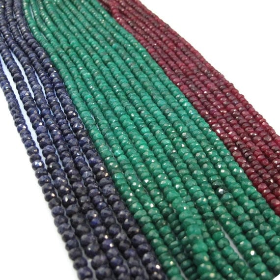 Ruby, Emerald or Sapphire Beads, Tiny Rondelles, 13 Inch Strand of Gemstones, 3.5mm - 4mm Beads for Making Jewelry (R-Prec1)