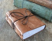 """Leather Journal . """"Let me live, love, and say it well in good sentences."""" - Sylvia Plath . handmade handbound . honey brown (320pgs)"""