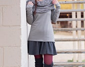 Large Cowl Neck  Women's Shirt Black/White Diamond Print.Long sleeve shirt. Women's Top.Women's clothing.Shawl Top