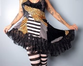Reserved. Summer Festival Dress, patchwork sundress, Gothic Lolita babydoll dress, black and white circus stripes