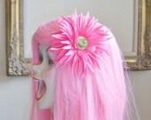 Ledell - Bright Pink Gerbera Daisy Hair Clip with Center Glitter
