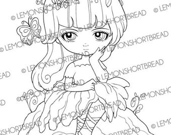 Digital Stamp Butterfly Lily Pad Fairy, Digi Download, Flower Floral Pixie, Fantasy Girl, Scrapbooking Supplies, Coloring Page, Clip Art