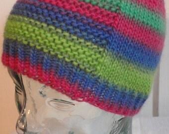 Child's/ Kid's Knit Hat- Striped Wool