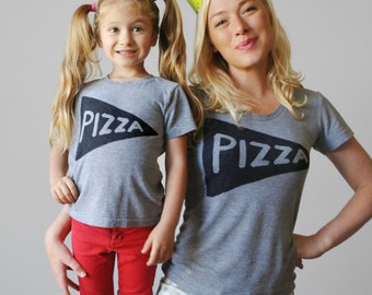 Pizza Mommy + me  Matching shirts - 4th July - gift for mom - womens graphic tee - twinning outfit - mother daughter tshirt free shipping