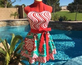 Gingerbread Houses Sassy Apron, Womens Misses and Plus Sizes, Retro Pin Up, Handmade, Hostess, Holiday Gifts, Christmas Aprons, Santa's Farm