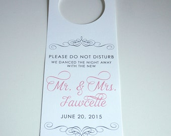 Wedding Door Hangers,Ornate Script,Wedding Do Not Disturb Sign,Elegant,Out of Town Bags,Unique Wedding Favors,Destination Wedding Favors
