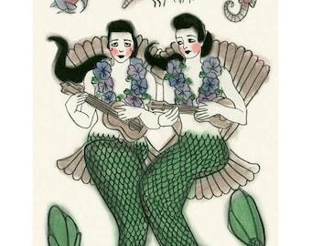 """Mermaid Art - Mermaid Print  - Ukulele Duet  -   8.3"""" X 11.7"""" mermaids print - 4 for 3 SALE"""
