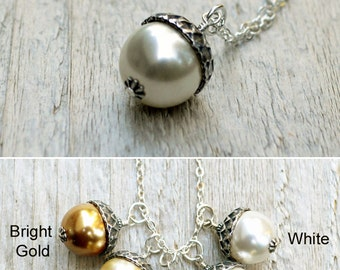 Pearl Acorn Necklace, Acorn Pendant, Sterling Silver, Acorn Charm, Swarovski Pearl, Almond, Cream, White, Gold, Gift for Bridesmaid