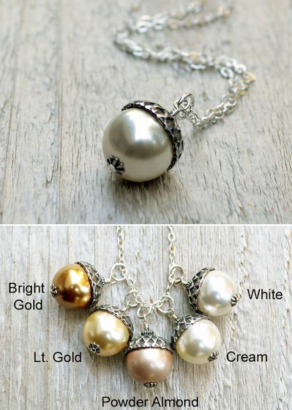Acorn Pendant Necklace, Pearl Acorn Necklace, Sterling Silver, Autumn Jewelry, Swarovski Pearl, 5 Color Choices, Almond, Cream, White, Gold