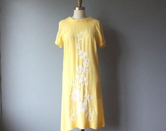 60s yellow shift dress, vintage embroidered dress / medium, large