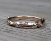 Rose Gold Scattered Diamond Branch Wedding Band: Yellow, Rose, or White Gold, 2mm wide, Canadian Diamonds