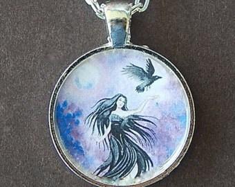 Goddess With Raven Art Glass Pendant Black Haired Goddess Art