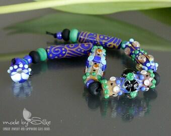 Handmade lampwork beads        tubes        Late Night Walk          art glass           made by Silke Buechler
