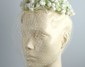 Vintage Easter Hat OS Floral Fascinator in pastel green and white