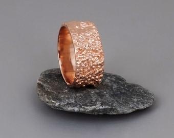 Rose Gold Ring, Wide Rose Gold Band, Unique Wedding Ring, Womens Ring, Wide Wedding Band, Textured Ring, Cluster Ring, Boho Wedding Ring