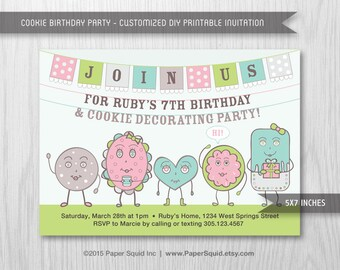 Cookie Birthday Party Invitation, Cookie Party Invitaiton, Cookie decorating Party, 5x7 Inches - Digital File - Print Your Own Item #156B