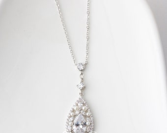 Delicate Bridal Necklace Crystal Pearl Bridal Jewelry Fine Chain Delicate Wedding Necklace Crystal Pendant TARA
