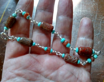 Dinosaur Bone, Turquoise Bracelet, Sunstone, Dino Fossil Gem Bone Beads, NEW DESIGN!