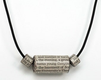 Paper Bead Necklace- Newspaper Jewelry, Paper Bead Jewelry, Upcycled Paper Jewelry, First Anniversary Gift, Modern Minimal Necklace