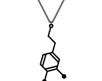 Dopamine Molecule Necklace - Matte Black