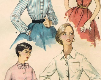 1950s Simplicity 1753 Vintage Sewing Pattern Misses Blouse, Shirt, Dressy Blouse Size 14 Bust 34