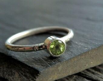 Custom peridot ring / faceted peridot ring / August birthstone / peridot jewelry / green gemstone / peridot stacker / peridot solitaire ring