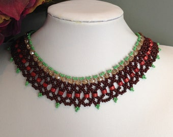 Summer Breeze Crystal Netted Necklace Set  / Free Shipping to Canada & USA