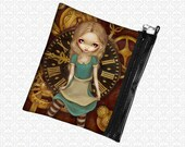 Alice in Clockwork Steampunk Jasmine Becket Griffith zippered bag wristlet, travel bag,