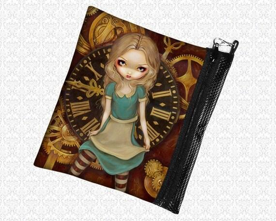 Alice in Clockwork Steampunk Jasmine Becket Griffith zippered bag wristlet, travel bag,