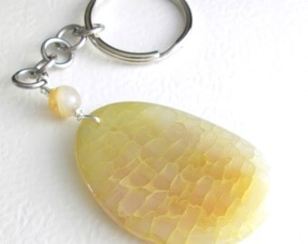 Bright Stone Key Chain, Yellow Agate Key Ring, Sunrise