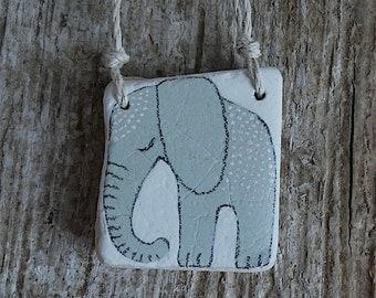LARGE Beach Pottery Elephant Necklace