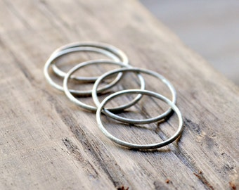 Fine Sterling Silver Stacking Rings. Set of 5 stackers. 1mm. Eco. Everyday Jewellery. Light. Delicate. Matte.