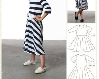 Kids Sewing Pattern, Tween Sewing Pattern, Printed Paper Pattern, Skater Dress, Circle Skirt, Tween Sewing Pattern, digital pdf pattern, pdf