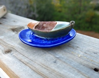 Ceramic Boat Collectible Trinket Dish Ring Holder Pottery Handmade Pottery Miniature