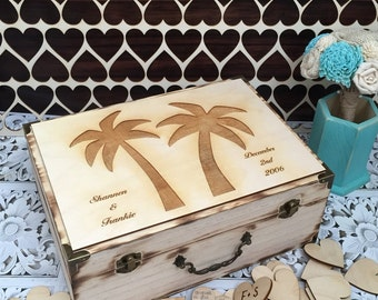 Destination wedding guest book , beach wedding guest book , rustic wedding , Palm tree wedding , guest book
