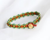 Forget Me Knot Bracelet in Orange, Green and Yellow ~ Handmade macrame Jewelry