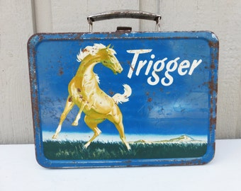 Trigger Lunch Box, 1950s Roy Rogers Horse Trigger Metal Lunch Box Collectible