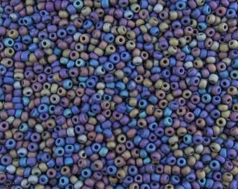 6/0 Matte Opaque Black AB Czech Glass Seed Beads 20 Grams (CS105)