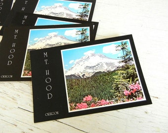 Mt Hood Oregon Postcards | Pacific Northwest | Cascade Mountains | Vintage Wedding Save the Date | Rhododendrons