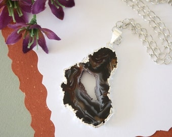 Geode Necklace Silver, Crystal Necklace, Geode Agate Slice, Druzy Pendant, Natural Geode, GS56