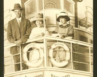 Unusual - Steamboat - Rockford  - Arcade Photo Antique c. 1913 RPPC