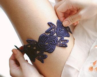 Navy blue lace garter, something blue wedding garter, bridal blue lace garter set, wedding garter blue - style #508